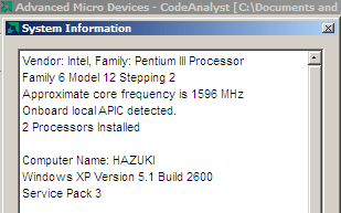 [CodeAnalyst running on Intel CPU]